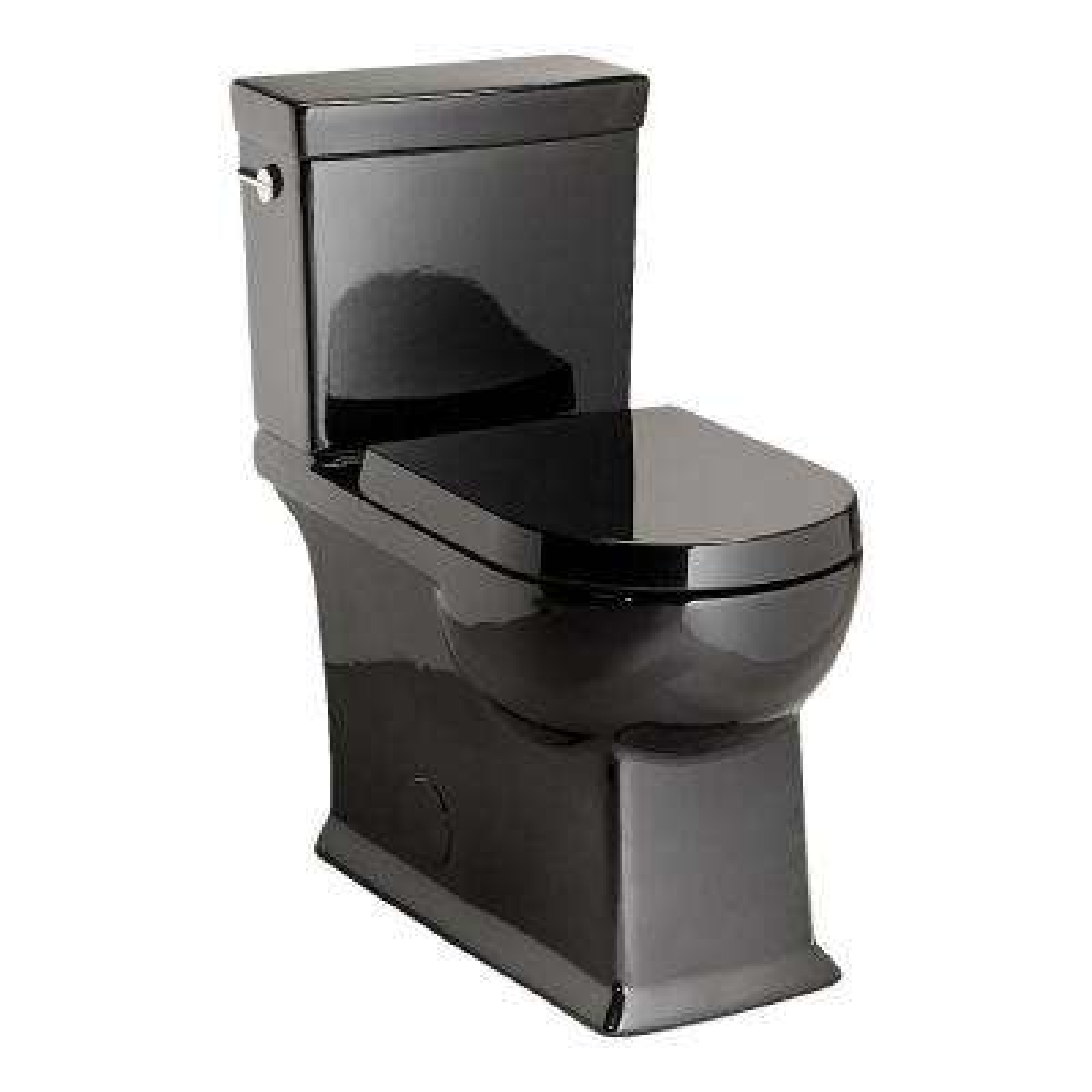 2-Piece 1.28 GPF Single Flush Round Toilet in Black