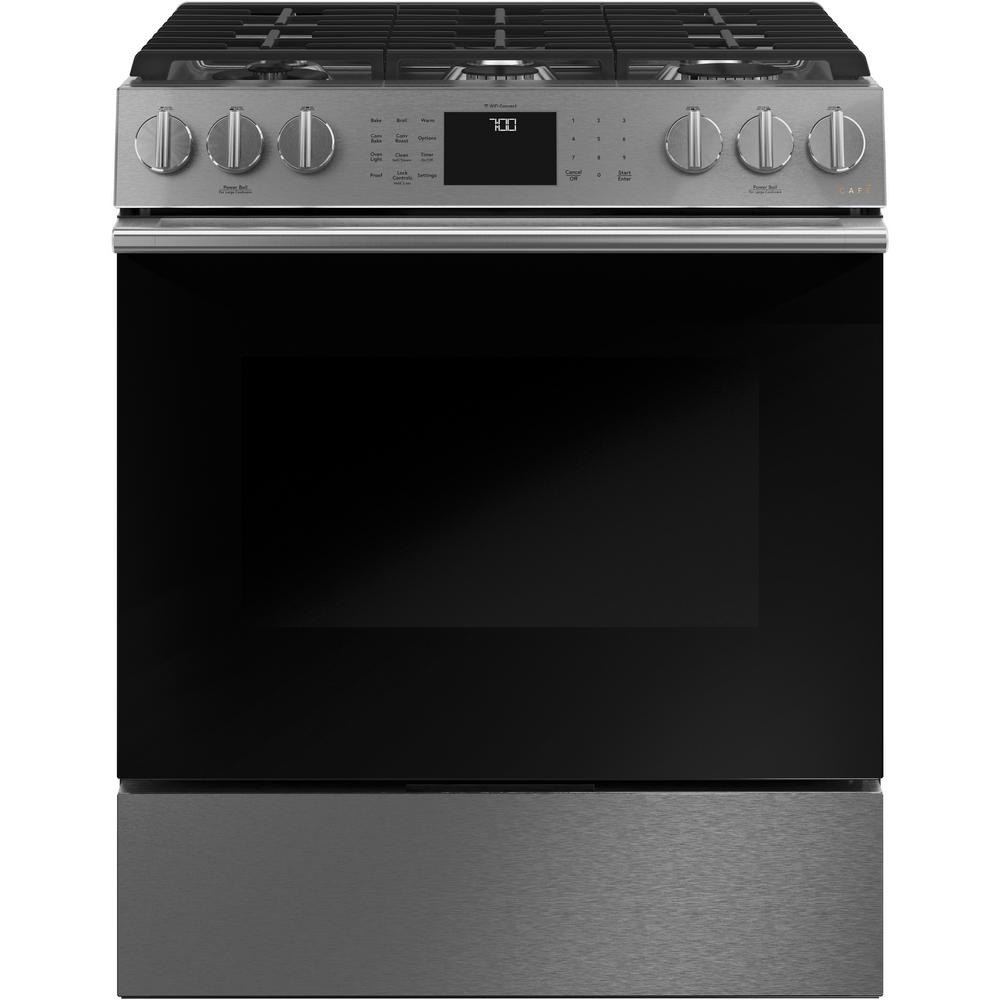 Cafe 30 in. 5.6 cu. ft. Slide-In Gas Range with Self-Cleaning Convection Oven in Platinum Glass