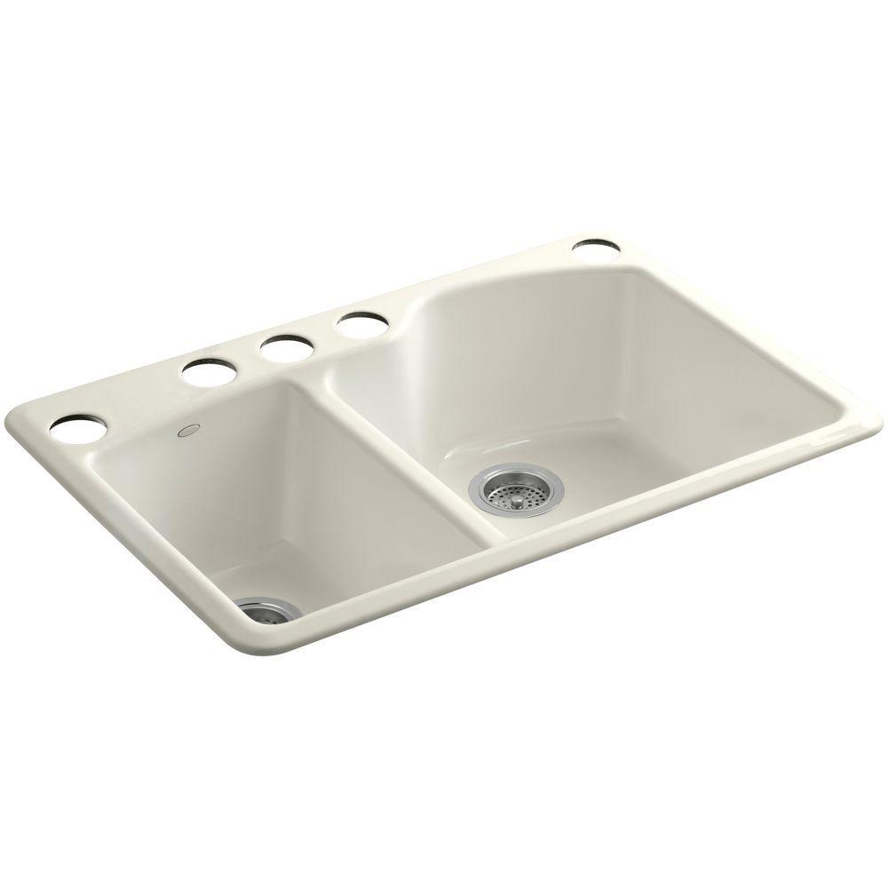 KOHLER Wheatland Undermount Cast-Iron 33 in. 5-Hole Double Bowl Kitchen Sink in Biscuit