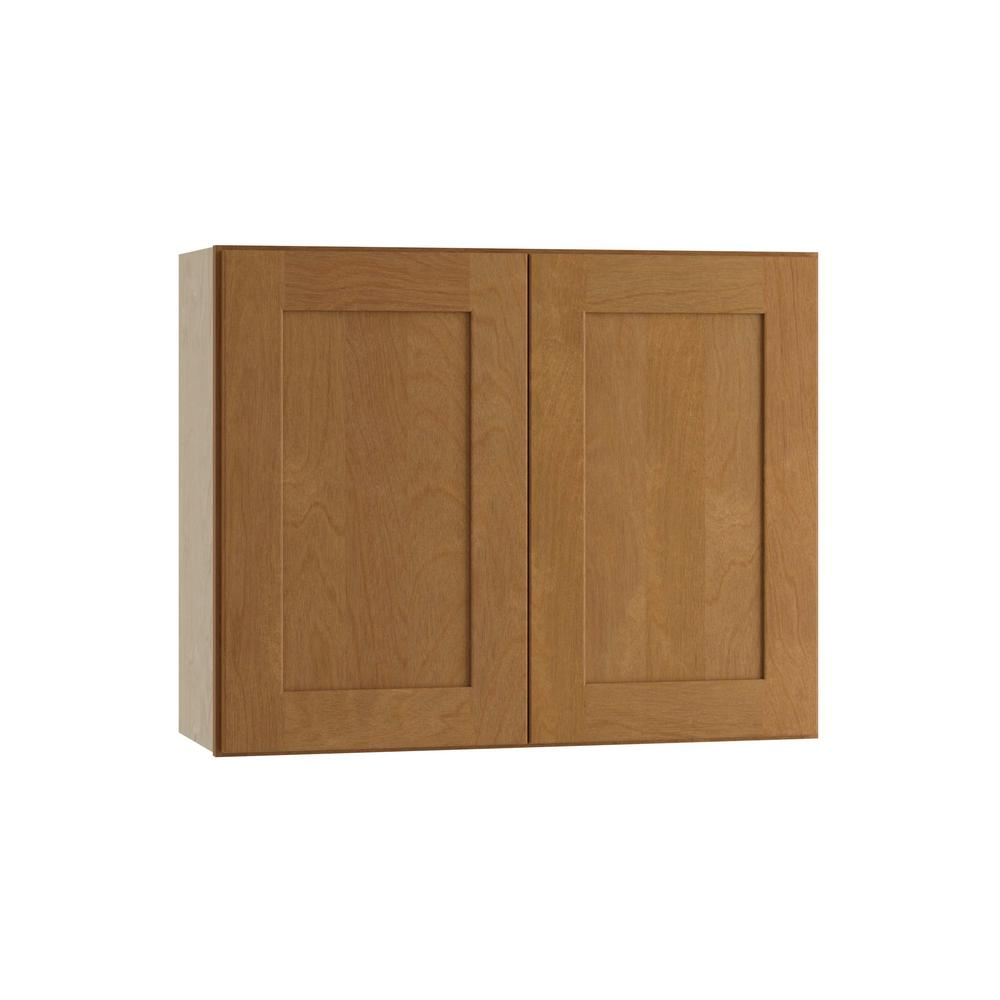 Hargrove Assembled 30x24x12 in. Double Door Wall Kitchen Cabinet in Cinnamon