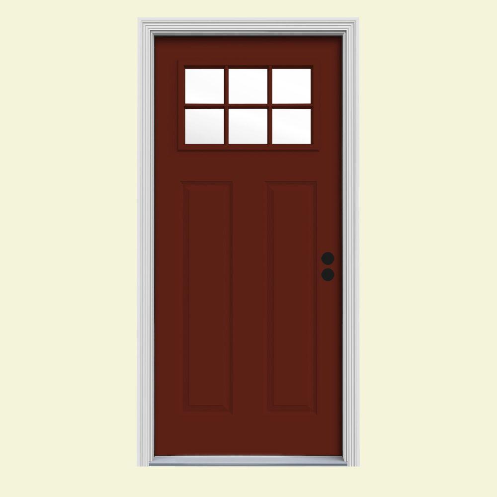 30 in. x 80 in. 6 Lite Craftsman Mesa Red w/White Interior Steel Prehung Left-Hand Inswing Front Door w/Brickmould