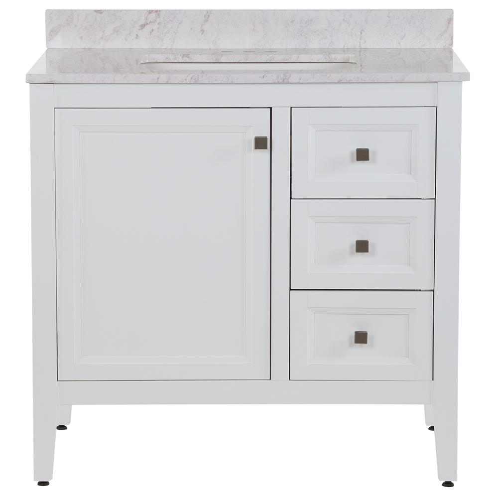 MOEN Darcy 37 in. W x 22 in. D Bath Vanity in White with Stone Effects Vanity Top in Lunar with White Sink