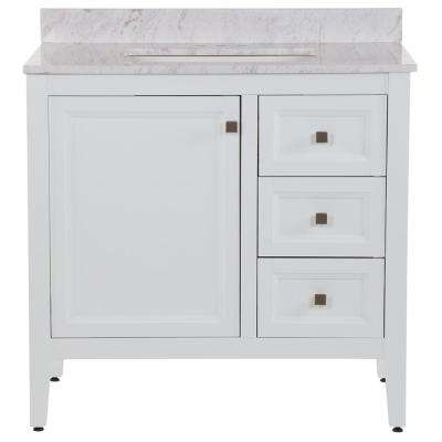 Darcy 37 in. W x 22 in. D Bath Vanity in White with Stone Effects Vanity Top in Lunar with White Sink