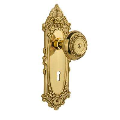 Victorian Plate with Keyhole 2-3/8 in. Backset Unlacquered Brass Privacy Meadows Door Knob