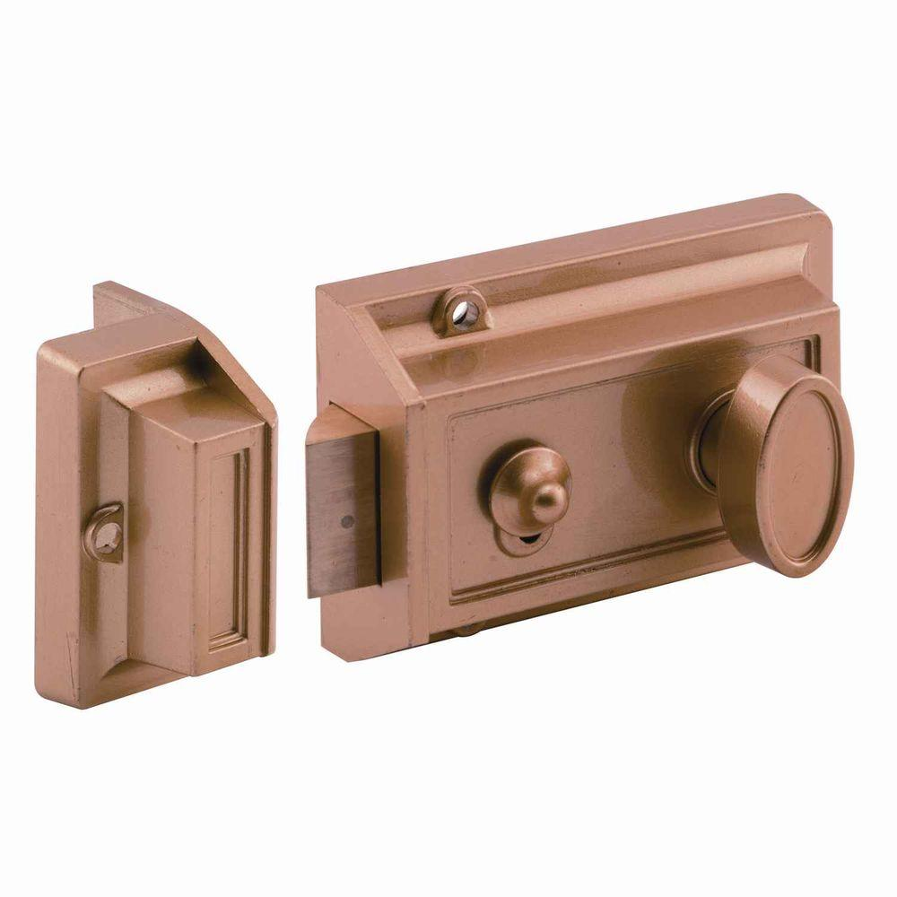 Prime Line Single Cylinder Brass Painted Locking Night
