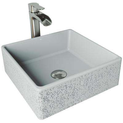 Aster Concrete Vessel Sink in Ash with Faucet in Brushed Nickel