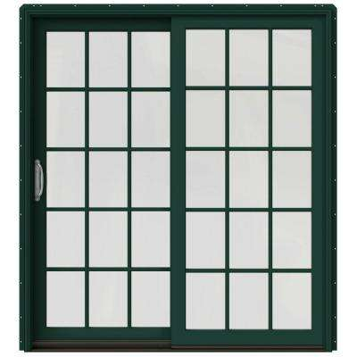 72 in. x 80 in. W-2500 Contemporary Green Clad Wood Left-Hand 15 Lite Sliding Patio Door w/White Paint Interior