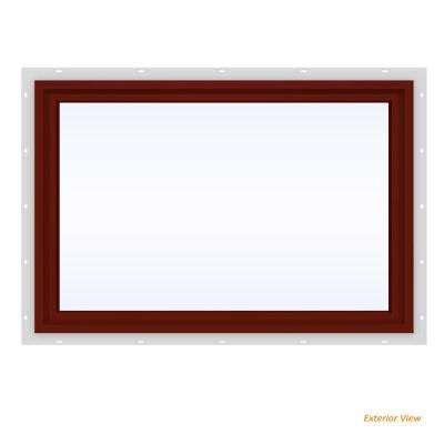 35.5 in. x 23.5 in. V-4500 Series Red Painted Vinyl Picture Window w/ Low-E 366 Glass