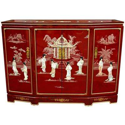 Oriental Furniture Red Lacquer Slant Front Cabinet