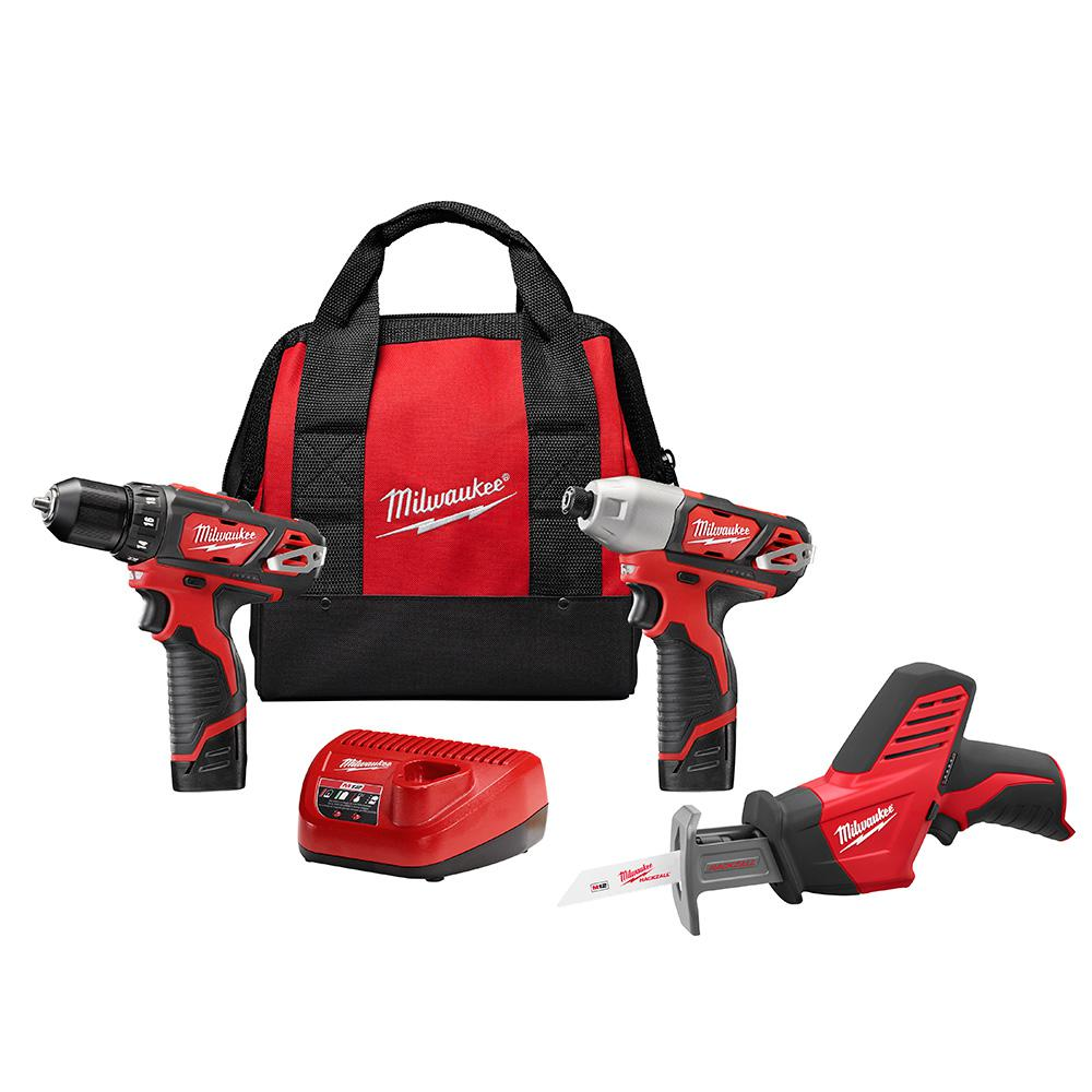 Milwaukee M12 12-Volt Lithium-Ion Cordless Combo Tool Kit (3-Tool) w/(2) 1.5Ah Batteries, (1) Charger, (1) Tool Bag