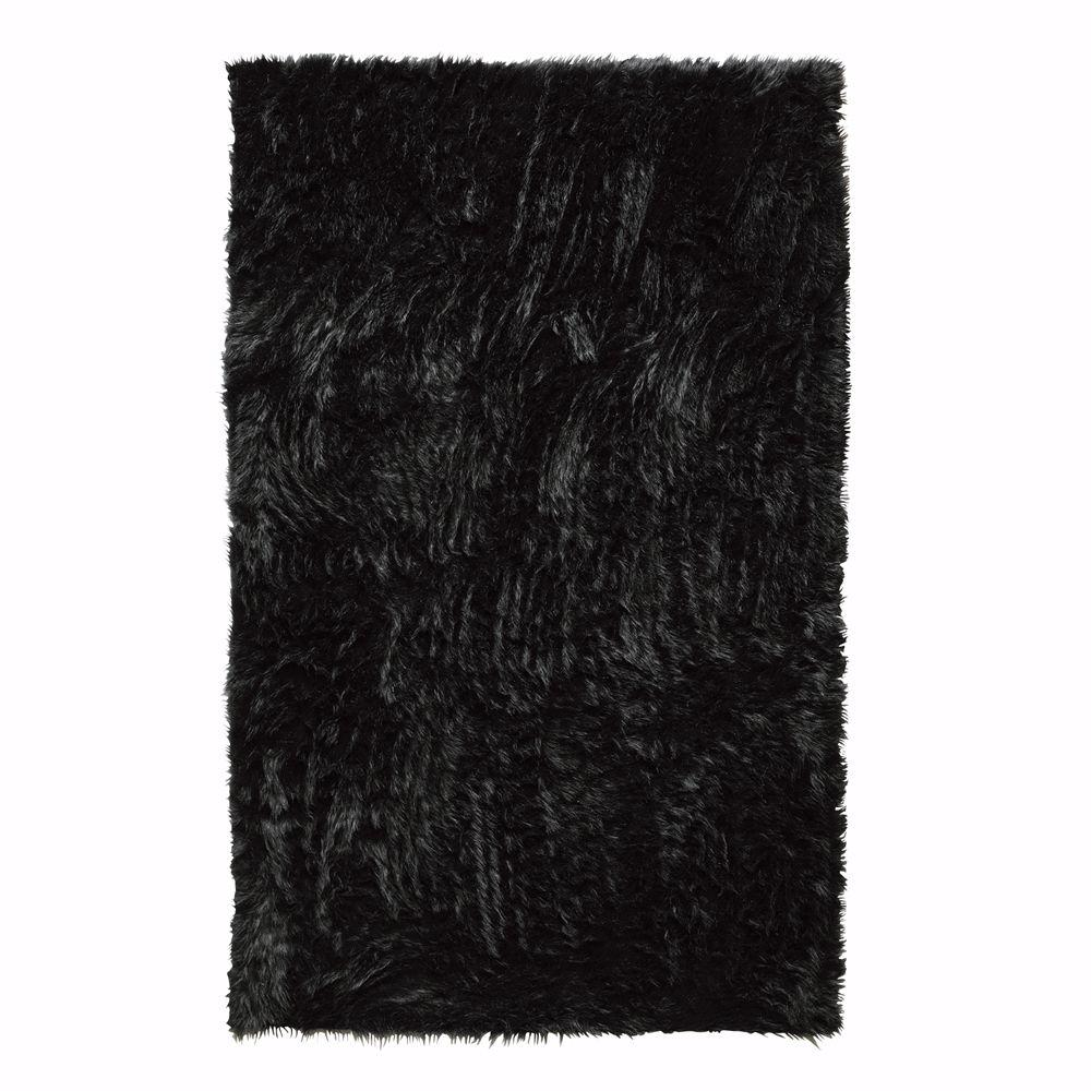 Home Decorators Collection Faux Sheepskin Black 11 ft. x 16 ft. Area Rug