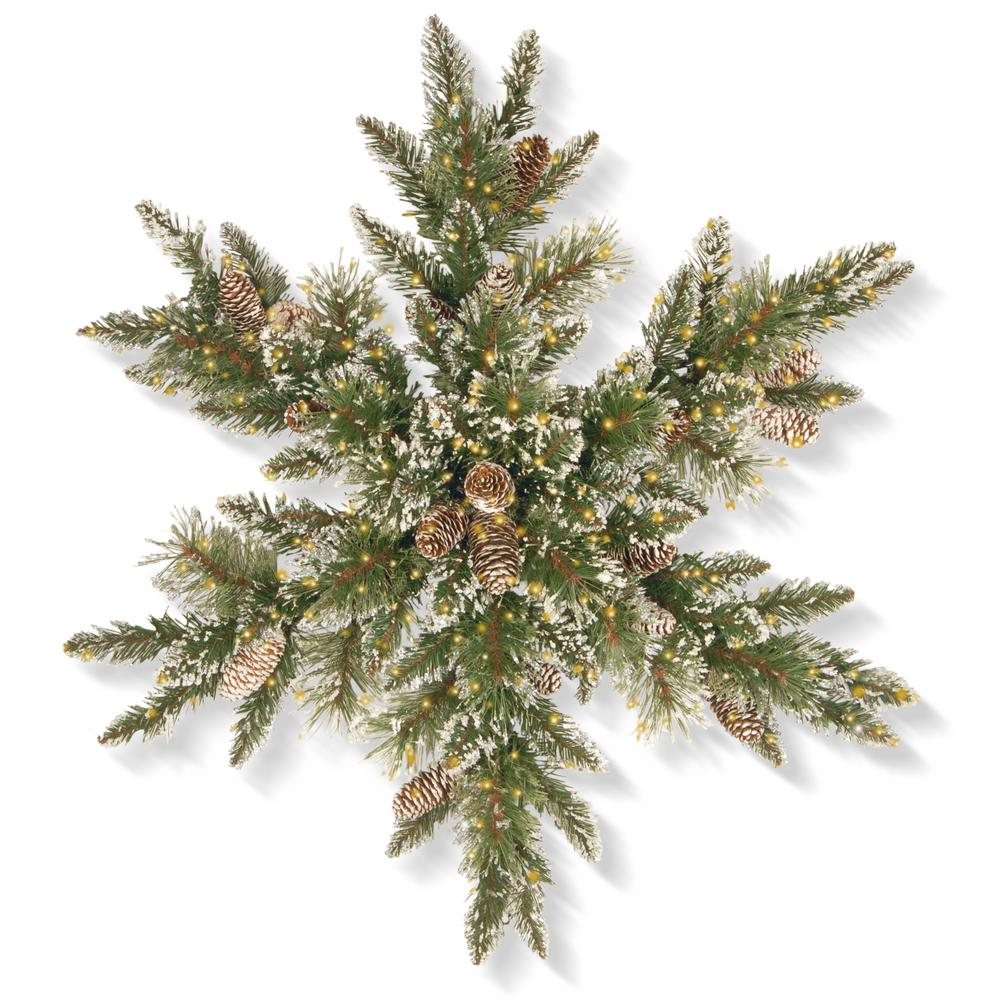 30 in. Glittery Bristle Pine Snowflake with Infinity Lights