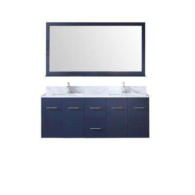 Amelie 60 in. Double Bath Vanity in Navy Blue w/ White Carrera Marble Top w/ White Square Sinks and 60 in. Mirror