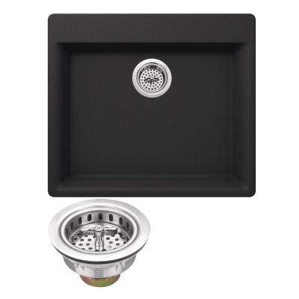 Drop-In Granite Composite 23.62 in. 4-Hole Single Bowl Kitchen Sink in Black Onyx