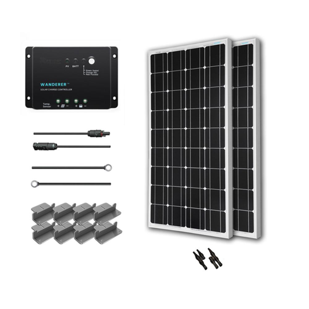 200-Watt 12-Volt Monocrystalline Solar Starter Kit for Off-Grid Solar System