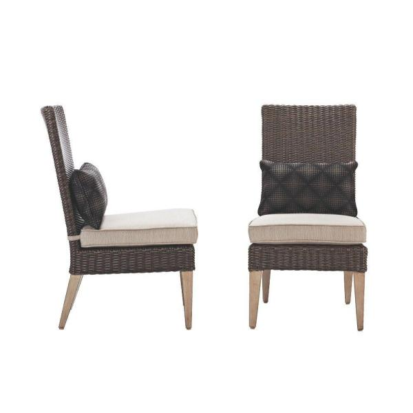 Naples Brown All-Weather Wicker Outdoor Parson Dining Chair with Putty Cushions (Set of 2)