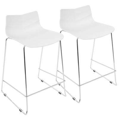 Arrow 25 in. White Stackable Counter Stool (Set of 2)