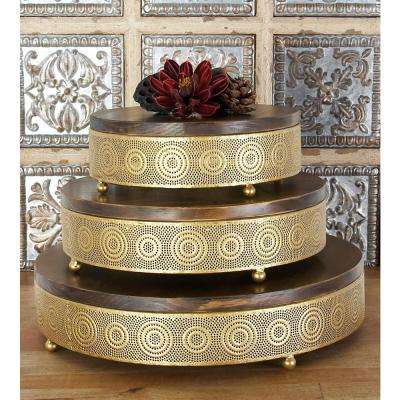 Metallic Gold Round Decorative Trays with Circular Details (Set of 3)