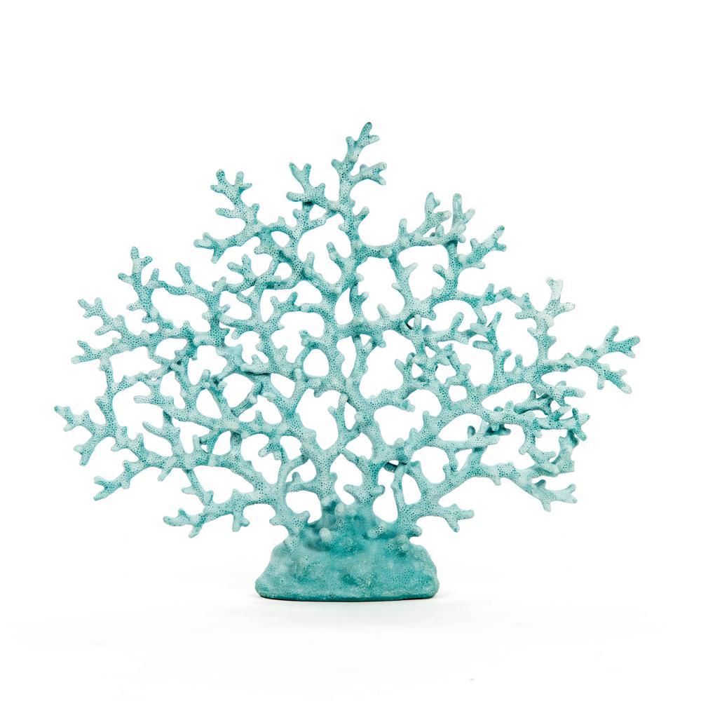 Coarse Polyresin Distressed Aqua Blue Coral