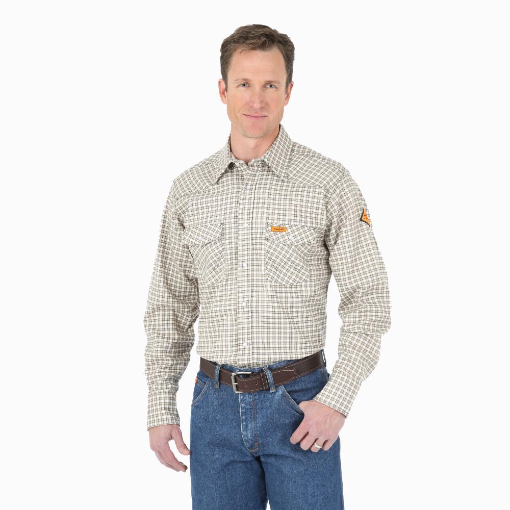 Men's Size Large Khaki/White Plaid Western Shirt