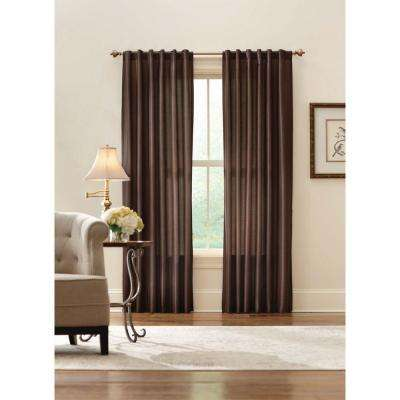 Sheer Brown Faux Silk Lined Back Tab Curtain - 52 in. W x 84 in. L