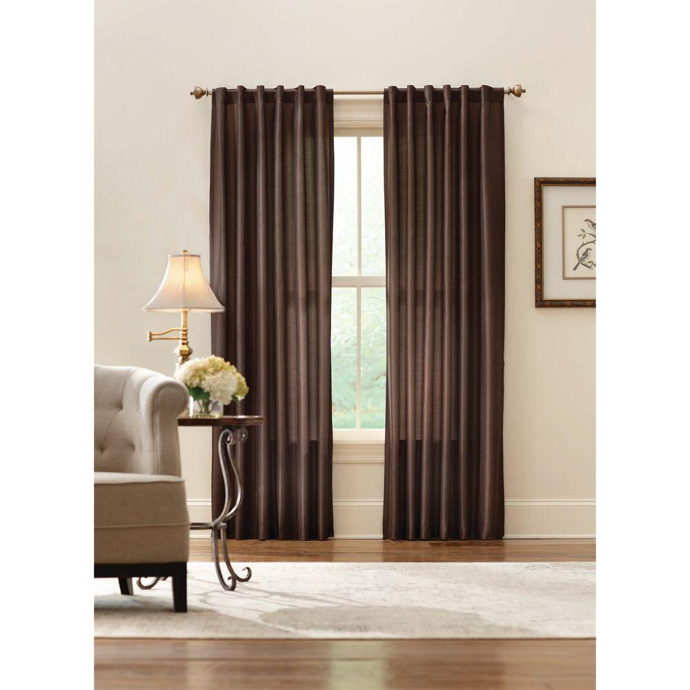 Home Decorators Collection Sheer Brown Faux Silk Lined Back Tab Curtain - 52 in. W x 84 in. L