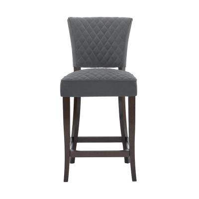 Cline Chocolate Wood Upholstered Counter Stool with Back and Charcoal Seat (19.69 in. W x 40.94 in. H)