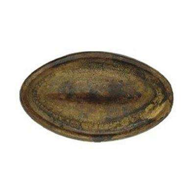 1.38 in. Antique Brass Distressed Oval Brass Knob
