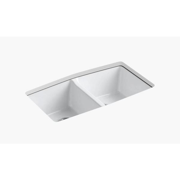 Brookfield Undermount Cast Iron 33 in. 5-Hole Double Bowl Kitchen Sink in White