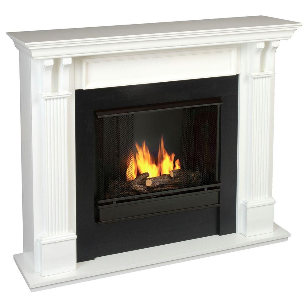 Real Flame Ashley 48 in. Gel Fuel Fireplace in White
