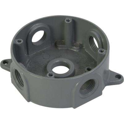 4 in. Round Weatherproof Electrical Outlet Box with Five 1/2 in. Holes - Gray