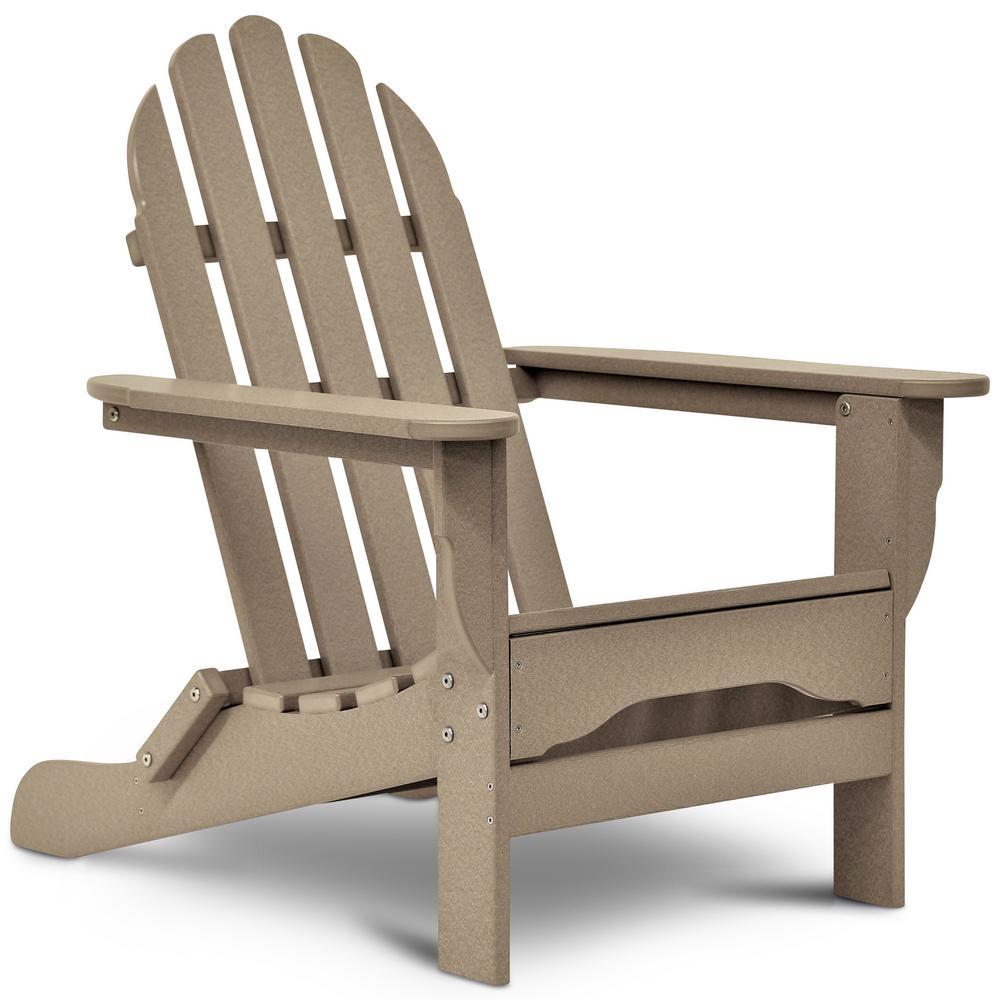 Icon Weathered Wood Non-Folding Plastic Adirondack Chair