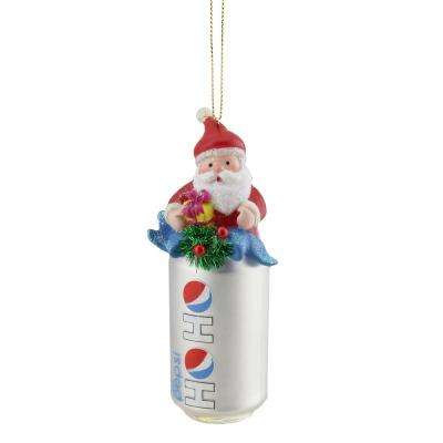 4.75 in. Silver Ho Ho Diet Pepsi Can with Santa Topper Decorative Glass Christmas Ornament