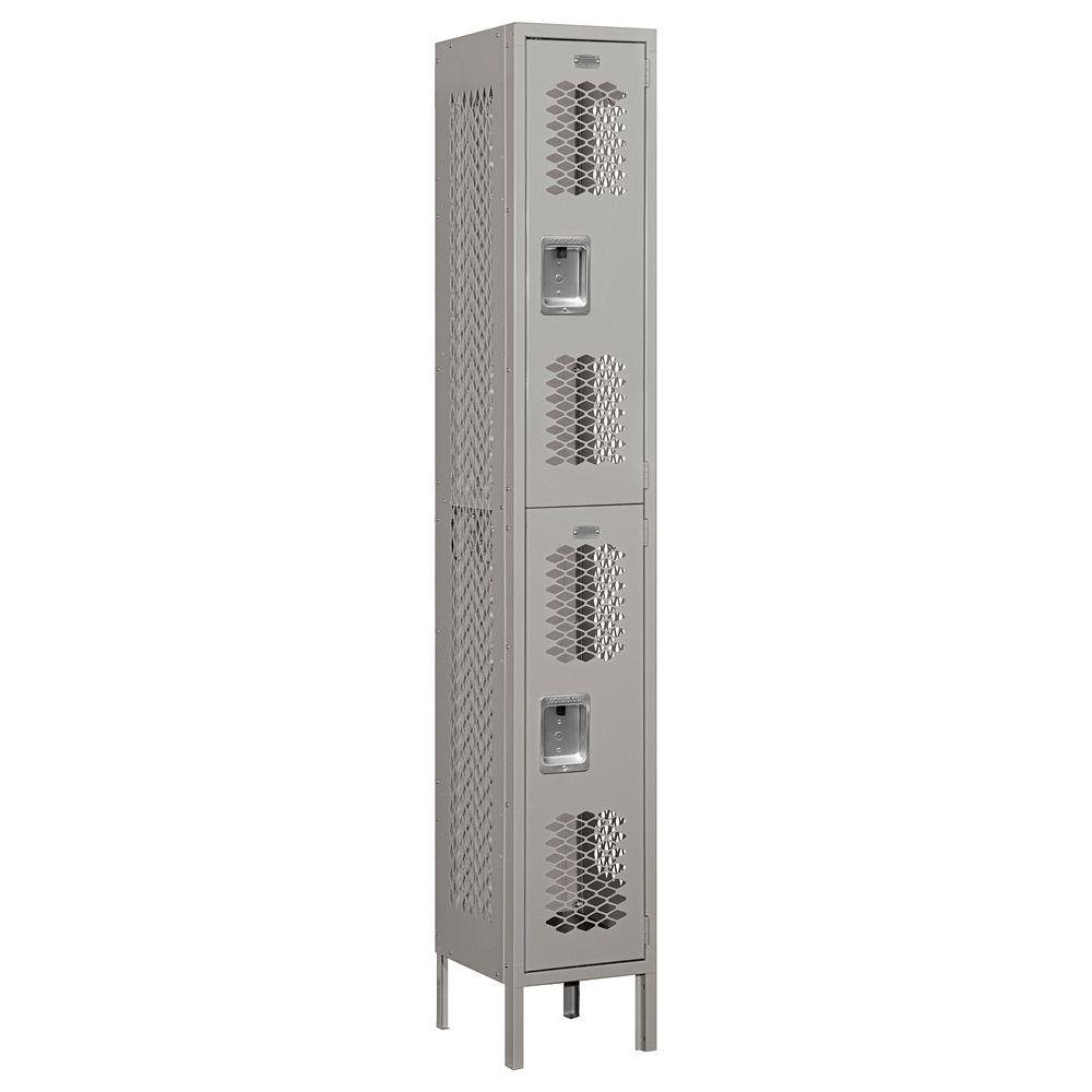 Salsbury Industries 72000 Series 12 in. W x 78 in. H x 12 in. D Double Tier Vented Metal Locker Unassembled in Gray