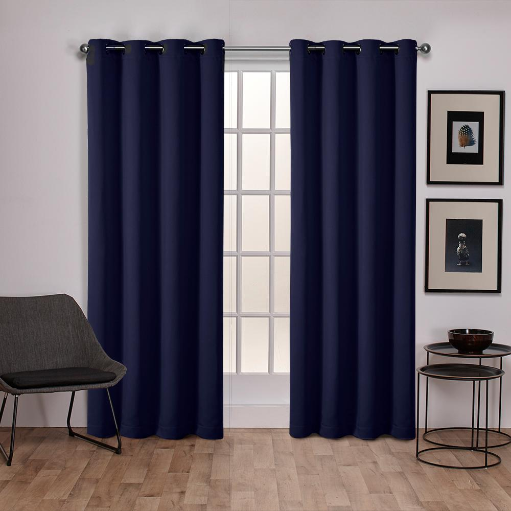 Sateen Peacoat Blue Twill Weave Blackout Grommet Top Window Curtain