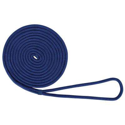 BoatTector 3/8 in. x 15 ft. Double Braid Nylon Dock Line in Royal Blue
