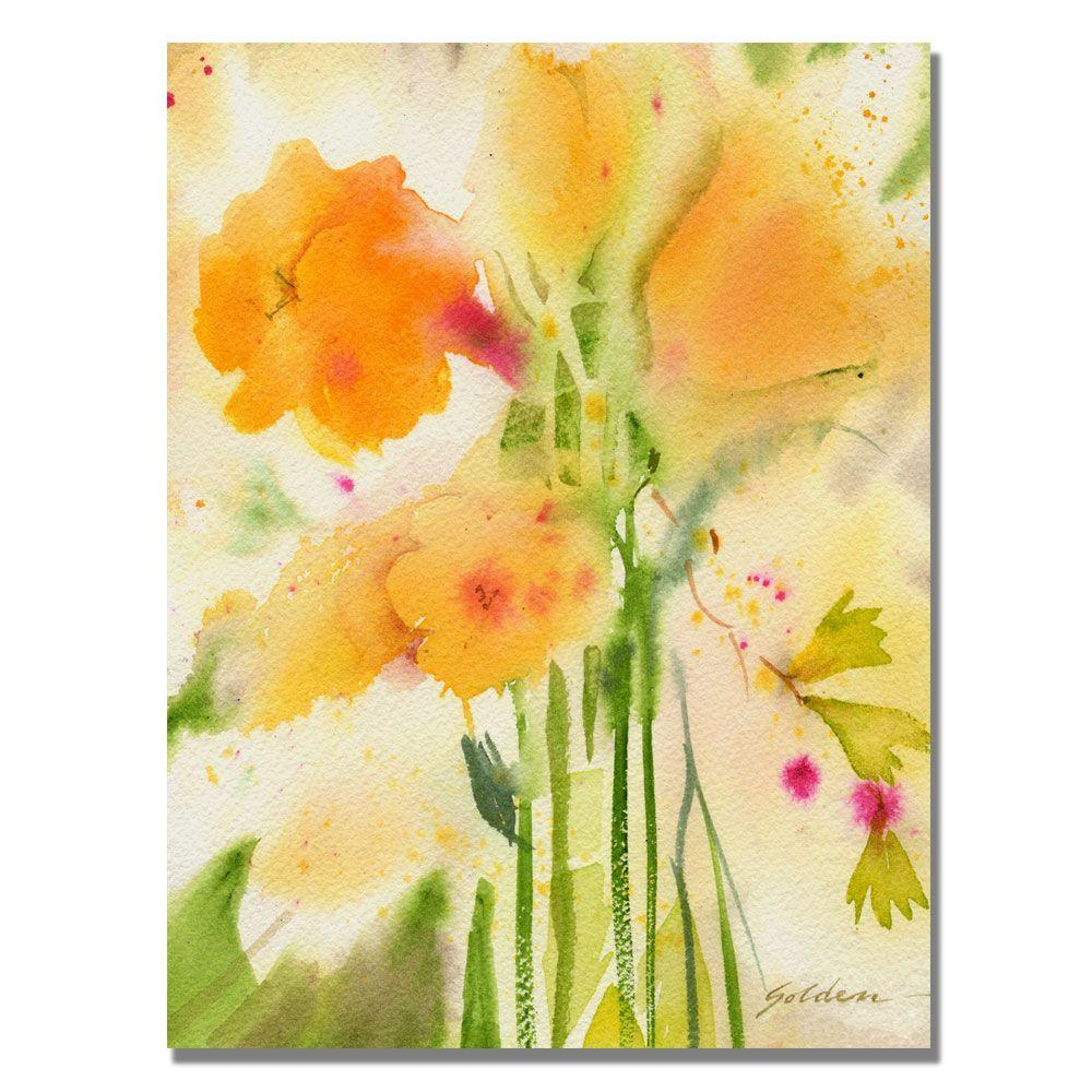 null 24 in. x 32 in. Orange Flowers Canvas Art
