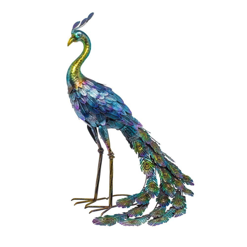 Alpine Corporation 9 in. Tall Outdoor Metallic Peacock Standing Yard  Statue Decoration, Multicolor-JUM9 - The Home Depot