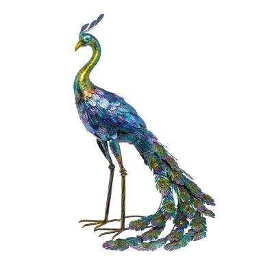 28 in. Tall Outdoor Metallic Peacock Standing Yard Statue Decoration, Multicolor