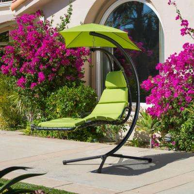 La Vida Black Metal Patio Swing with Green Cushion