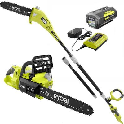 14 in. 40-Volt Brushless Lithium-Ion Cordless Chainsaw and 10 in. Cordless Pole Saw, 4 Ah Battery and Charger Included