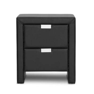Frey Contemporary Black Faux Leather Upholstered Nightstand