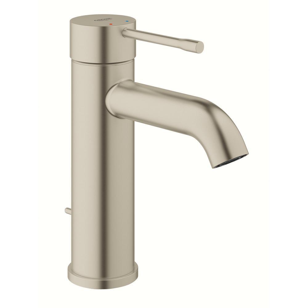 Essence New Single Hole Single-Handle 1.2 GPM Mid-Arc Bathroom Faucet in Brushed Nickel InfinityFinish