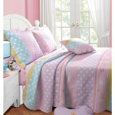 Polka Dot Stripe 3-Piece Multi Full/Queen Quilt Set