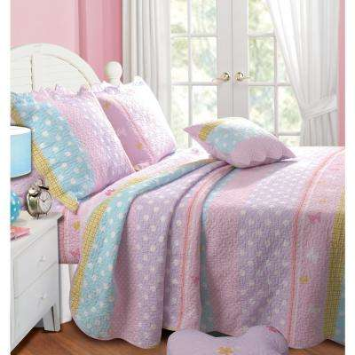 Polka Dot Stripe 2-Piece Multi Twin Quilt Set