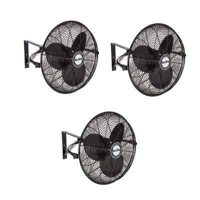 20 in. 3-Speed Non-Oscillating Totally Enclosed Wall Mount Fan (3-Pack)