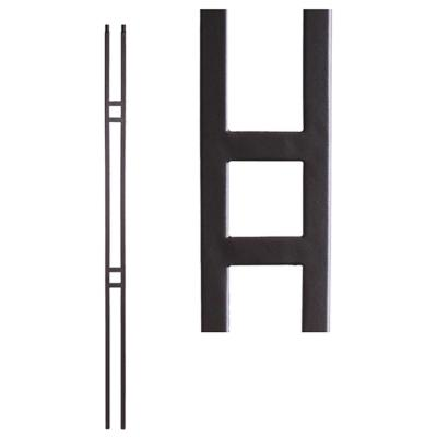 Aalto Modern 44 in. x 0.5 in. Satin Black Double Bar Hollow Wrought Iron Baluster