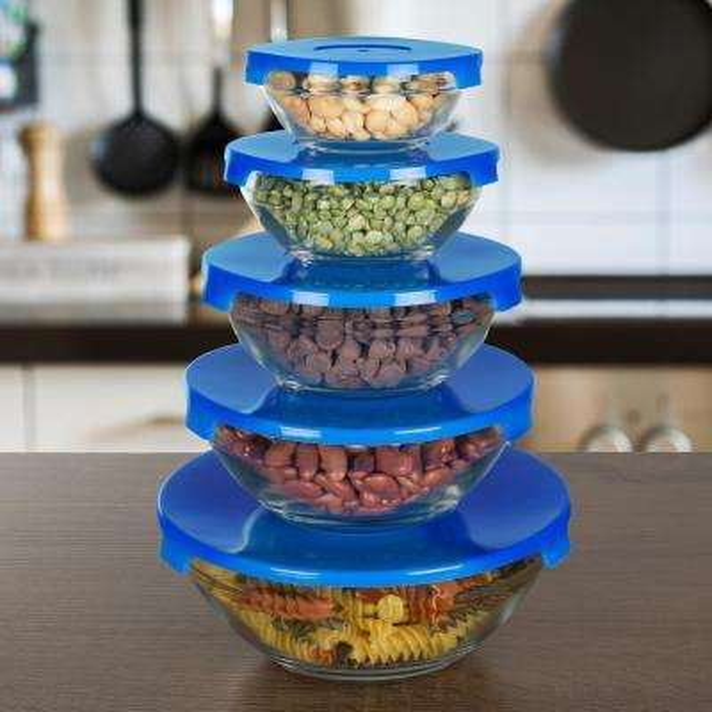 10-Piece Glass Bowl Set with Blue Lids