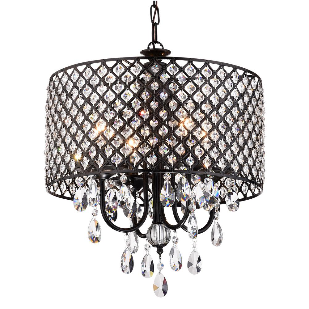 Edvivi Marya 4-Light Antique Black Round Chandelier With