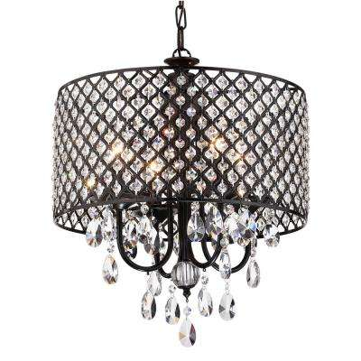 Marya 4-Light Antique Black Round Chandelier with Beaded Drum/Hanging Clear Crystal Glass Teardrops